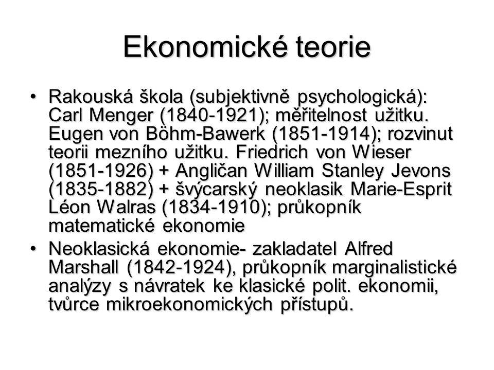 Ekonomické teorie