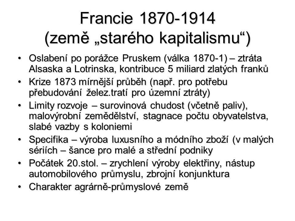 """Francie 1870-1914 (země """"starého kapitalismu )"""