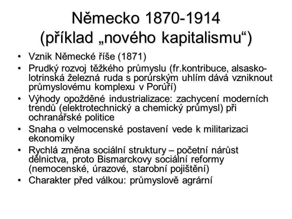 """Německo 1870-1914 (příklad """"nového kapitalismu )"""