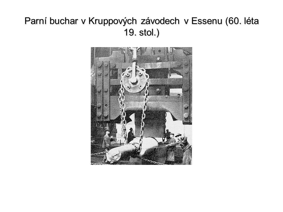Parní buchar v Kruppových závodech v Essenu (60. léta 19. stol.)