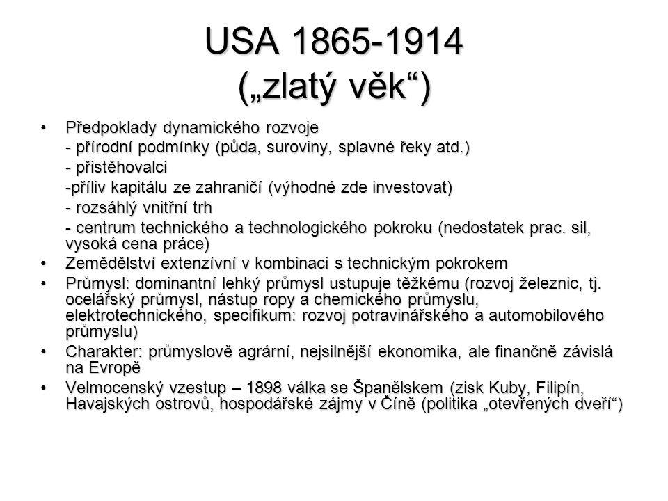 """USA 1865-1914 (""""zlatý věk ) Předpoklady dynamického rozvoje"""