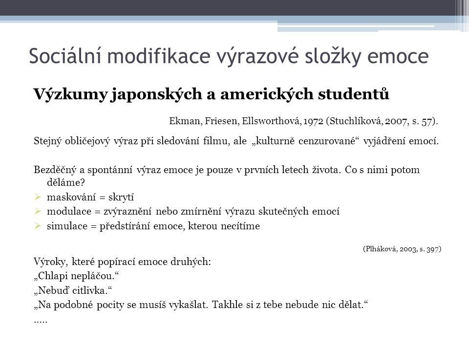 Sociální modifikace výrazové složky emoce