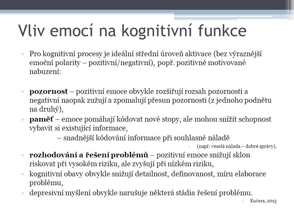 Vliv emocí na kognitivní funkce