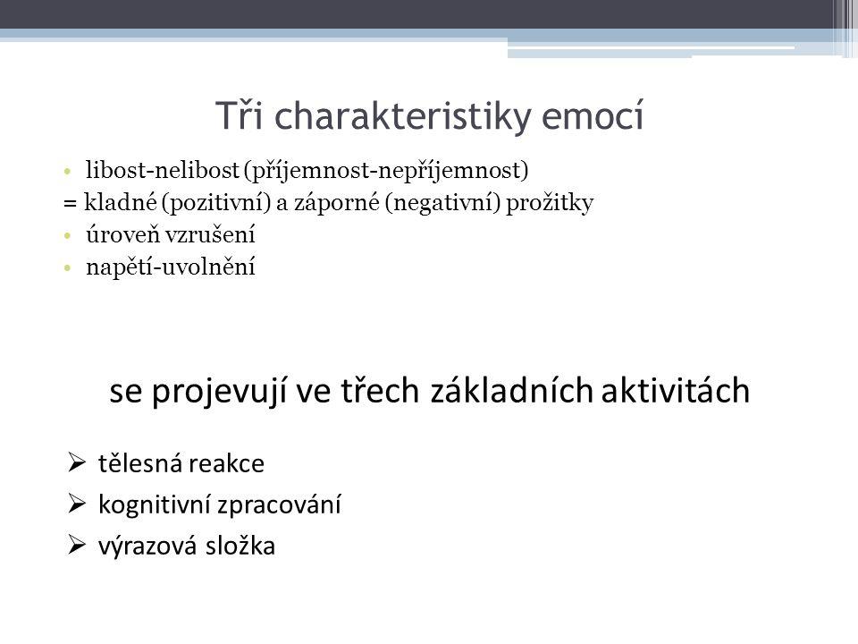 Tři charakteristiky emocí