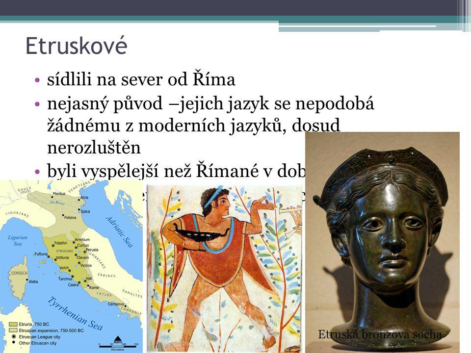 Etruskové sídlili na sever od Říma