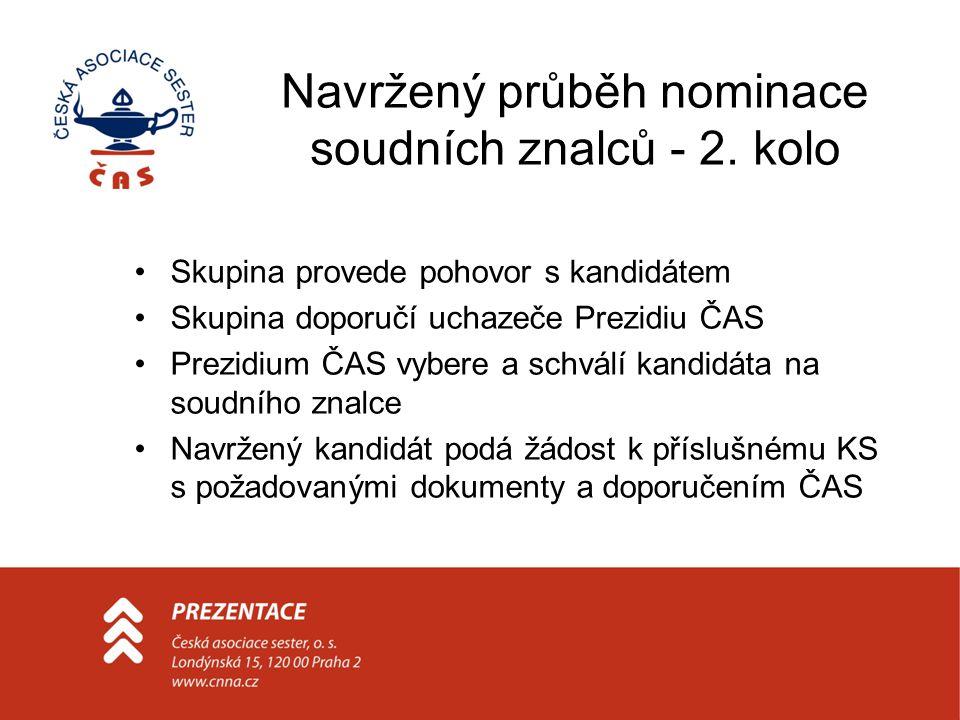 Navržený průběh nominace soudních znalců - 2. kolo