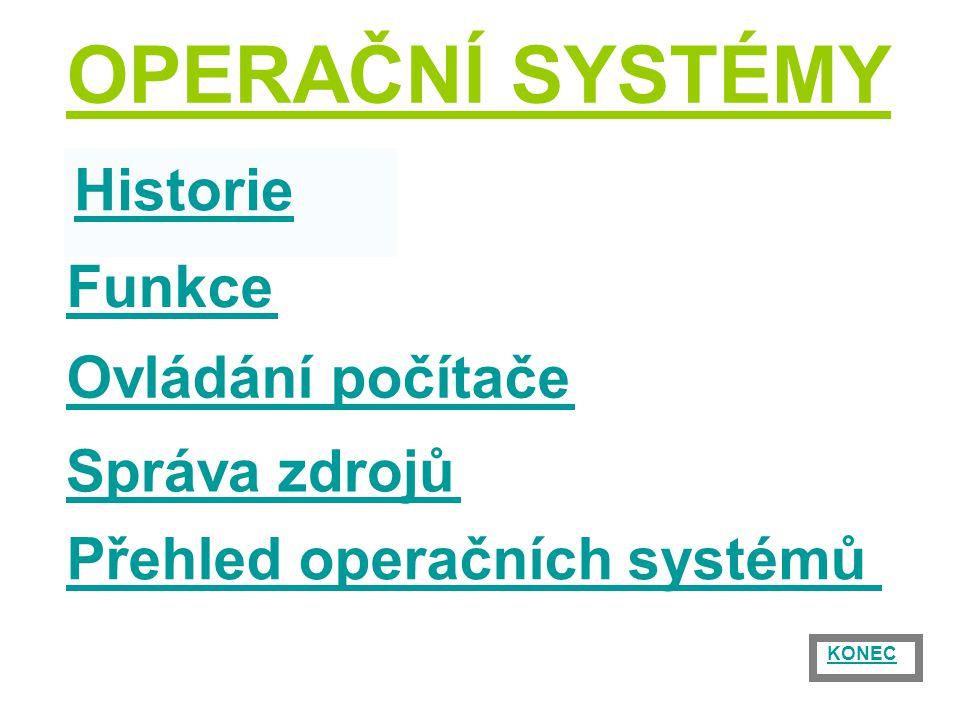 OPERAČNÍ SYSTÉMY Správa zdrojů Historie Funkce Ovládání počítače