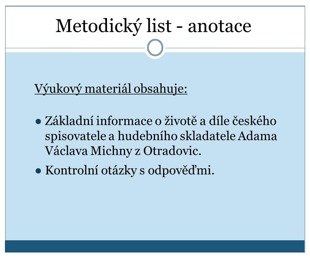 Metodický list - anotace