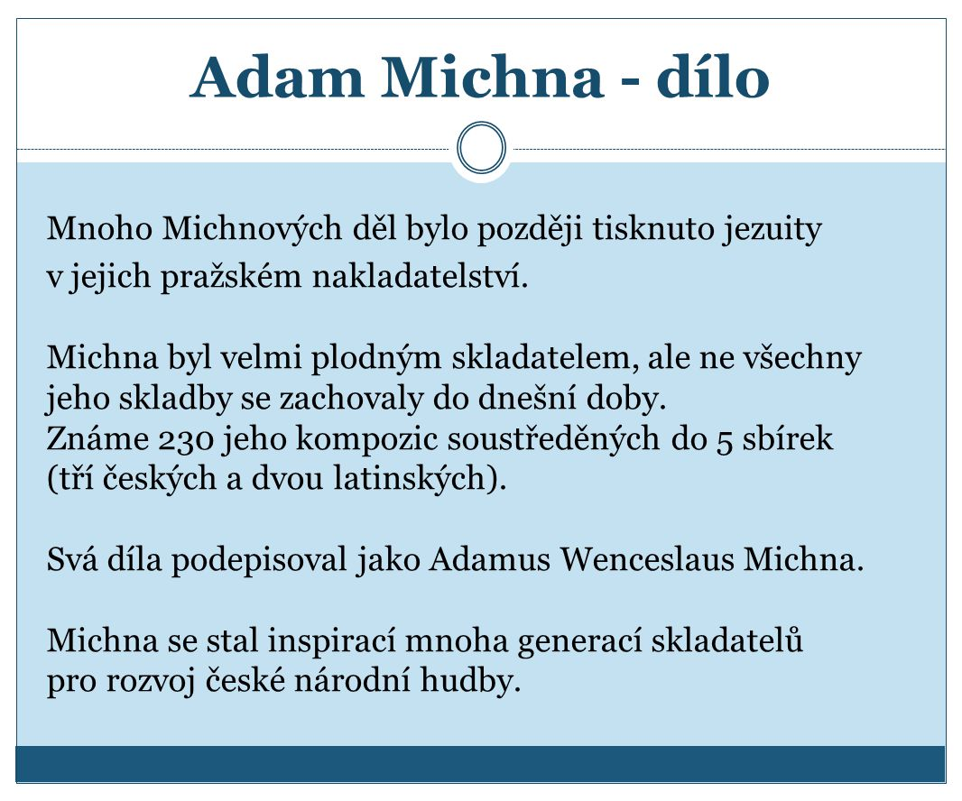 Adam Michna - dílo