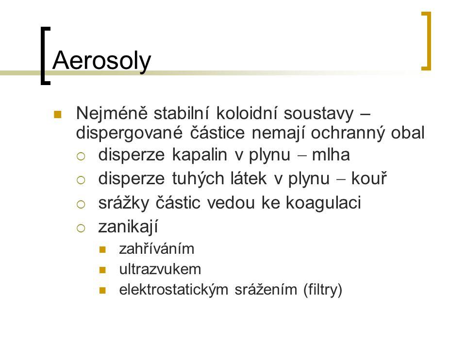 Aerosoly Nejméně stabilní koloidní soustavy – dispergované částice nemají ochranný obal. disperze kapalin v plynu  mlha.