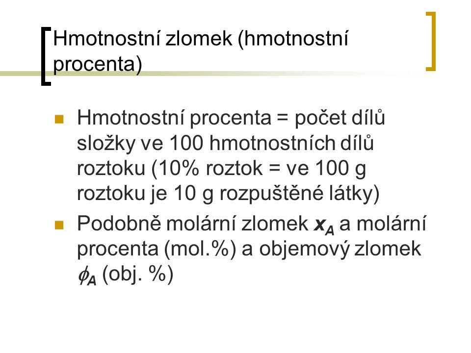 Hmotnostní zlomek (hmotnostní procenta)