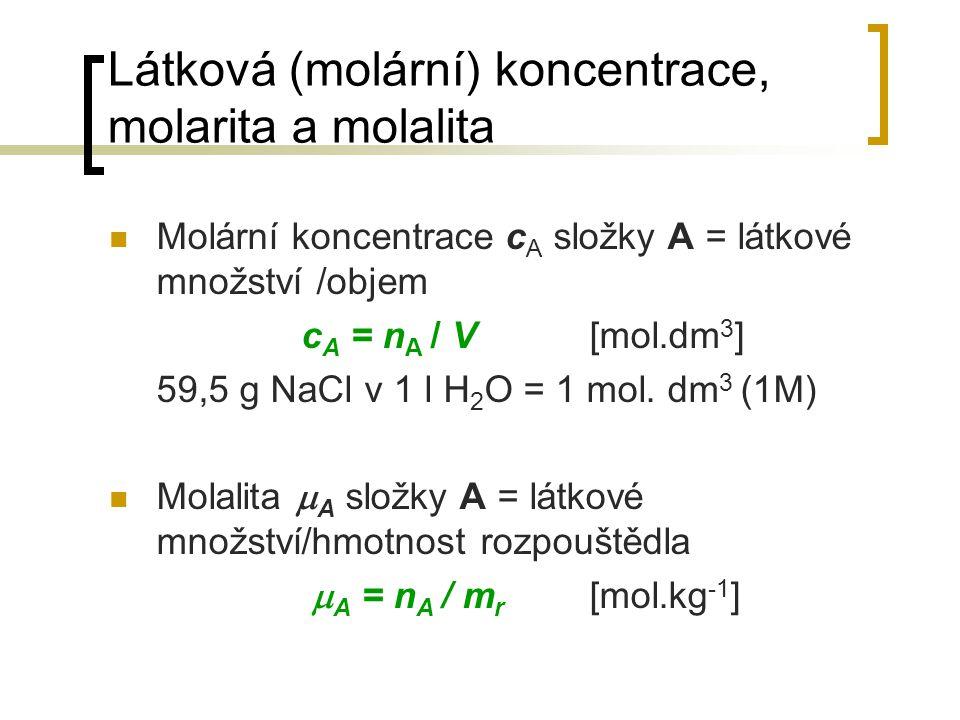 Látková (molární) koncentrace, molarita a molalita