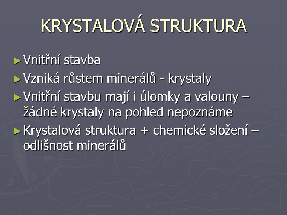 KRYSTALOVÁ STRUKTURA Vnitřní stavba Vzniká růstem minerálů - krystaly