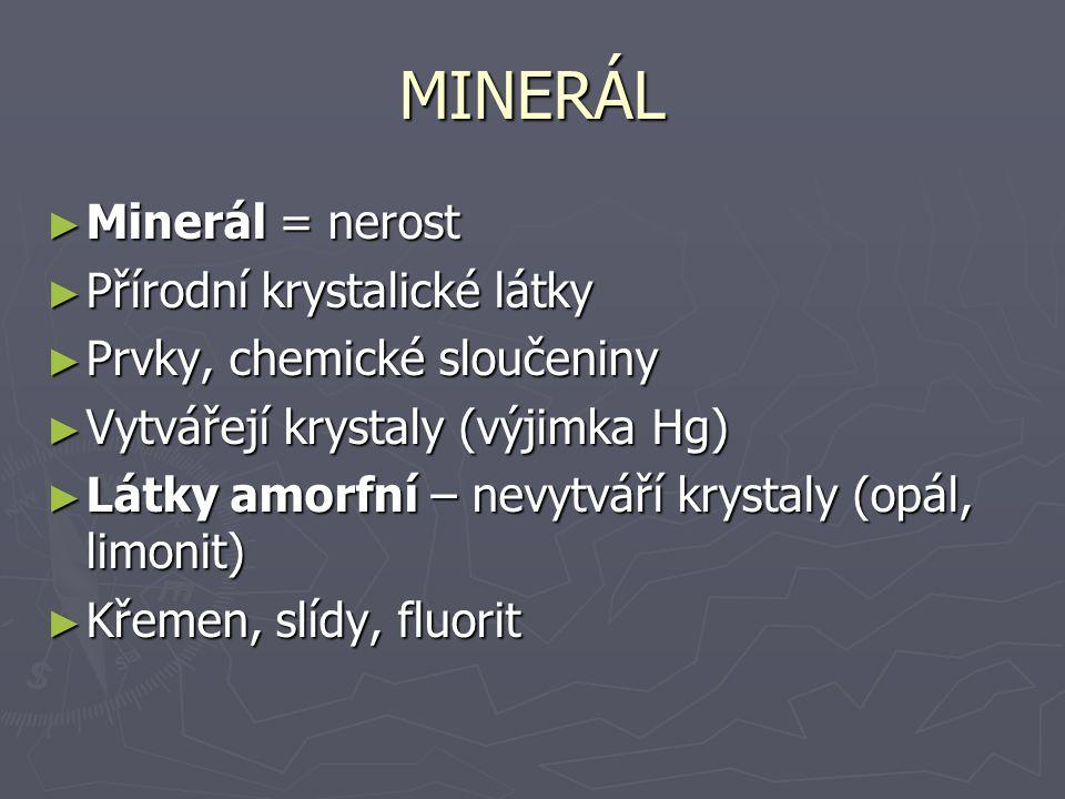 MINERÁL Minerál = nerost Přírodní krystalické látky