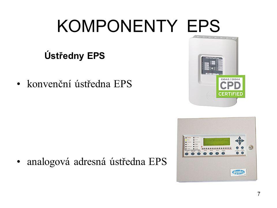 KOMPONENTY EPS konvenční ústředna EPS analogová adresná ústředna EPS