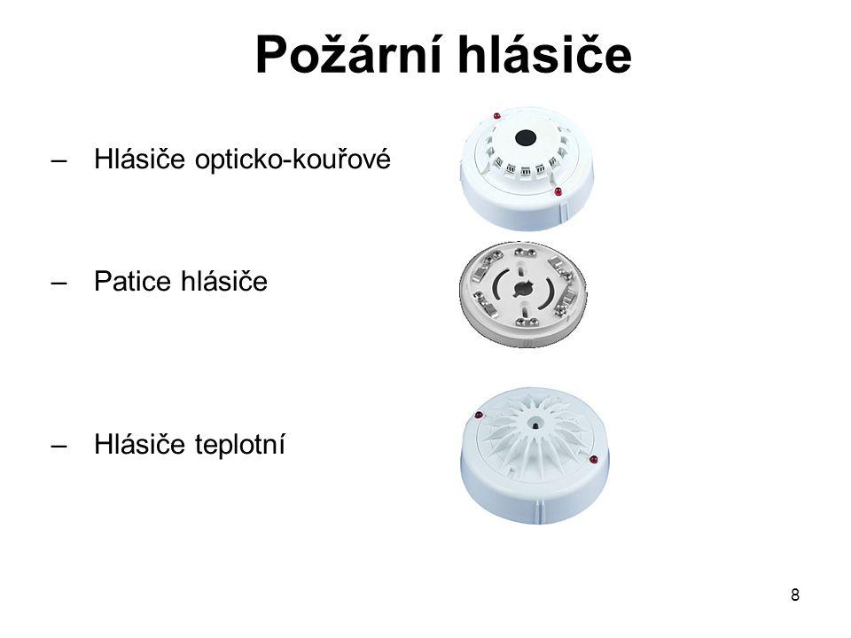 Požární hlásiče Hlásiče opticko-kouřové Patice hlásiče