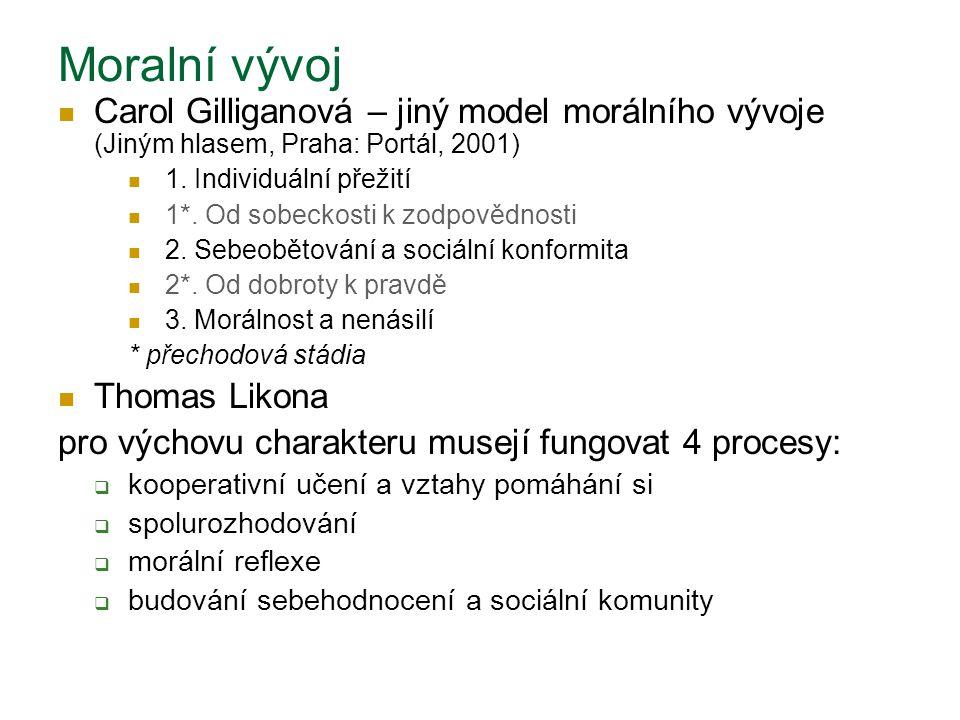 Moralní vývoj Carol Gilliganová – jiný model morálního vývoje (Jiným hlasem, Praha: Portál, 2001) 1. Individuální přežití.