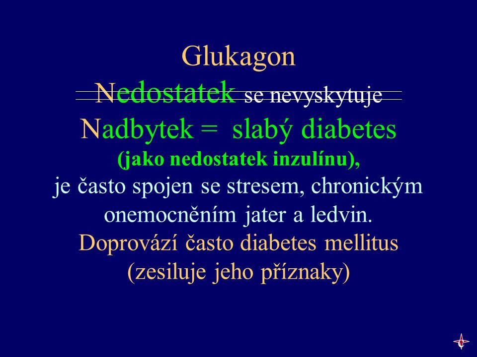 Glukagon Nedostatek se nevyskytuje Nadbytek = slabý diabetes (jako nedostatek inzulínu), je často spojen se stresem, chronickým onemocněním jater a ledvin. Doprovází často diabetes mellitus (zesiluje jeho příznaky)