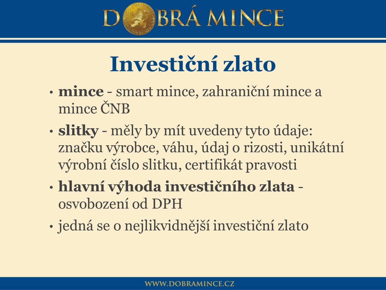 Investiční zlato mince - smart mince, zahraniční mince a mince ČNB