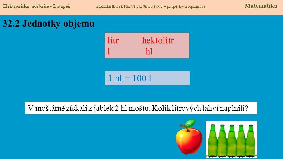 32.2 Jednotky objemu litr hektolitr l hl 1 hl = 100 l