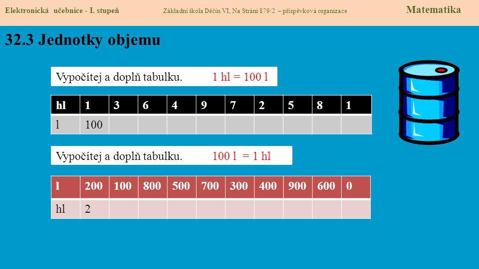 32.3 Jednotky objemu Vypočítej a doplň tabulku. 1 hl = 100 l hl 1 3 6