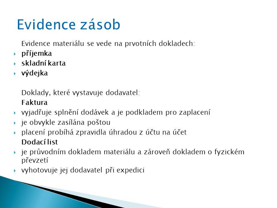 Evidence zásob Evidence materiálu se vede na prvotních dokladech: