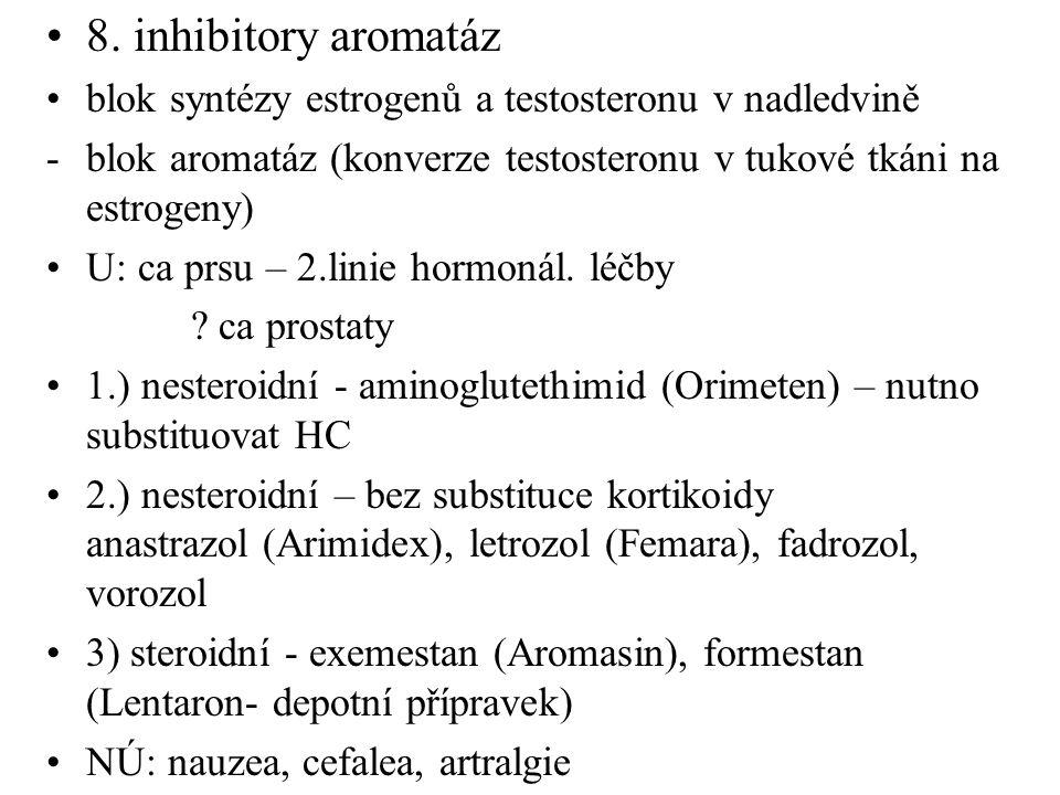 8. inhibitory aromatáz blok syntézy estrogenů a testosteronu v nadledvině. blok aromatáz (konverze testosteronu v tukové tkáni na estrogeny)