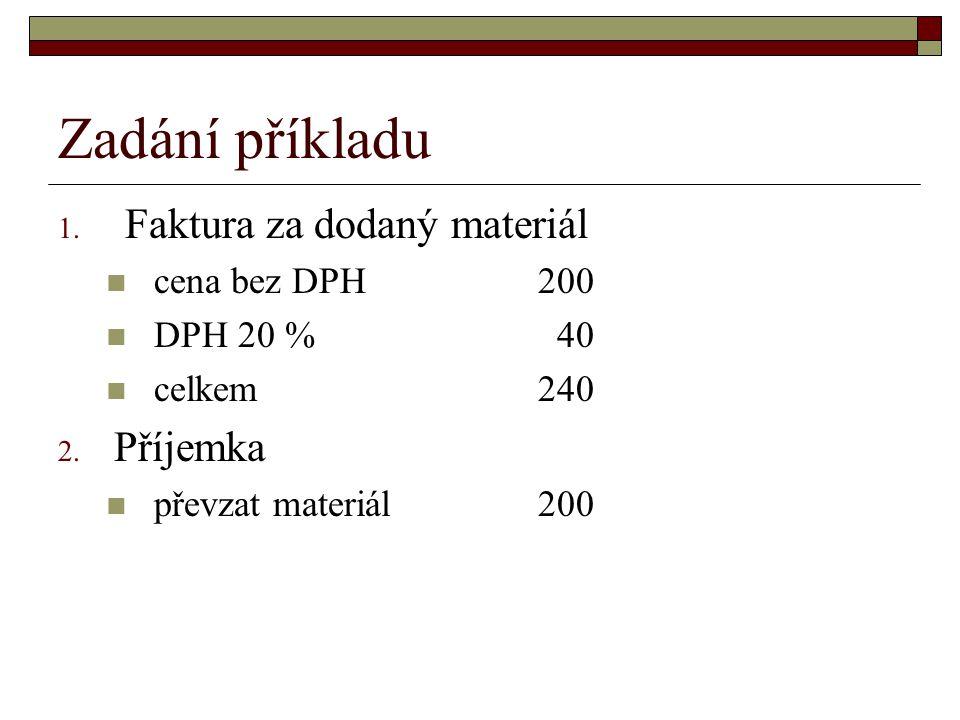 Zadání příkladu Faktura za dodaný materiál Příjemka cena bez DPH 200
