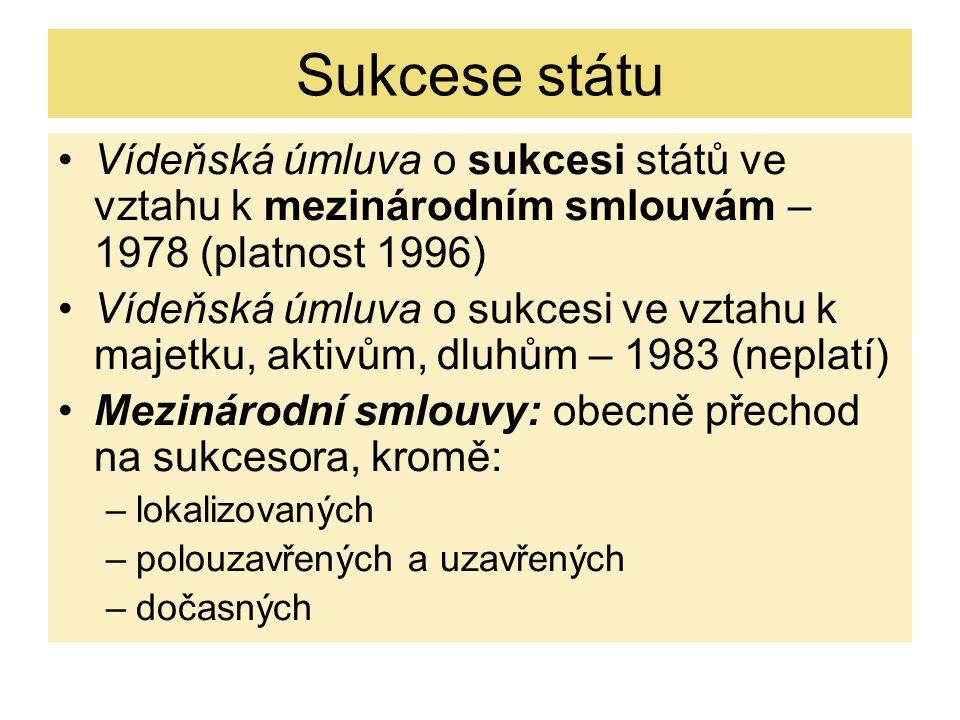 Sukcese státu Vídeňská úmluva o sukcesi států ve vztahu k mezinárodním smlouvám – 1978 (platnost 1996)