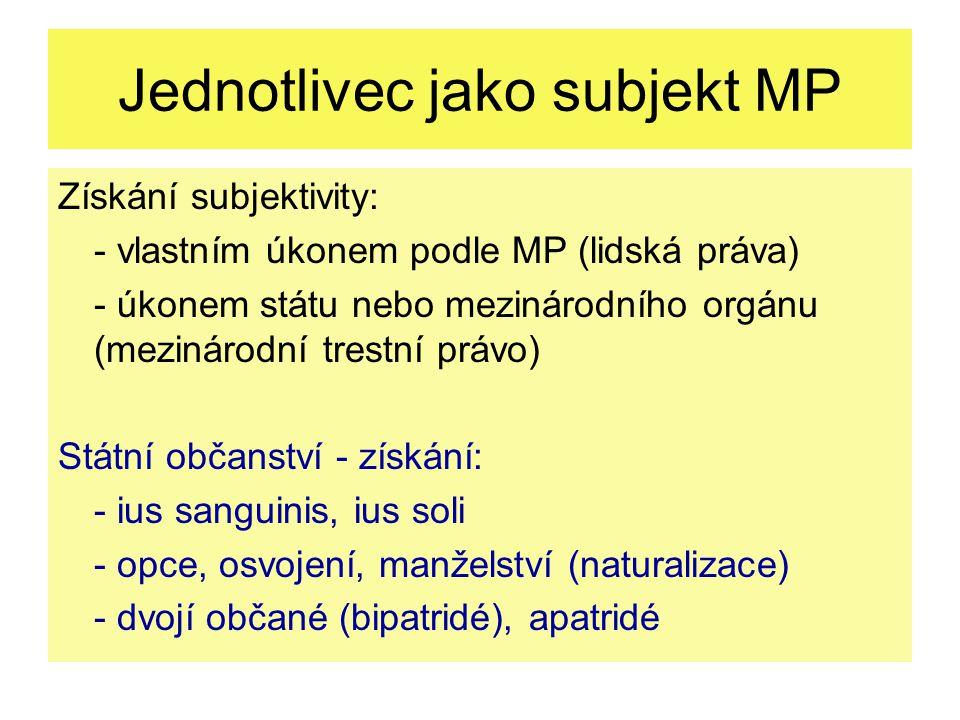 Jednotlivec jako subjekt MP