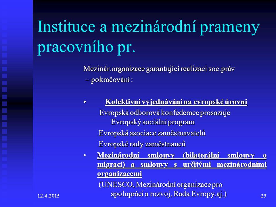 Instituce a mezinárodní prameny pracovního pr.