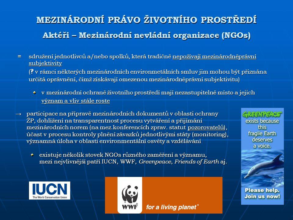 MEZINÁRODNÍ PRÁVO ŽIVOTNÍHO PROSTŘEDÍ Aktéři – Mezinárodní nevládní organizace (NGOs)