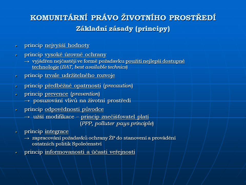 KOMUNITÁRNÍ PRÁVO ŽIVOTNÍHO PROSTŘEDÍ Základní zásady (principy)