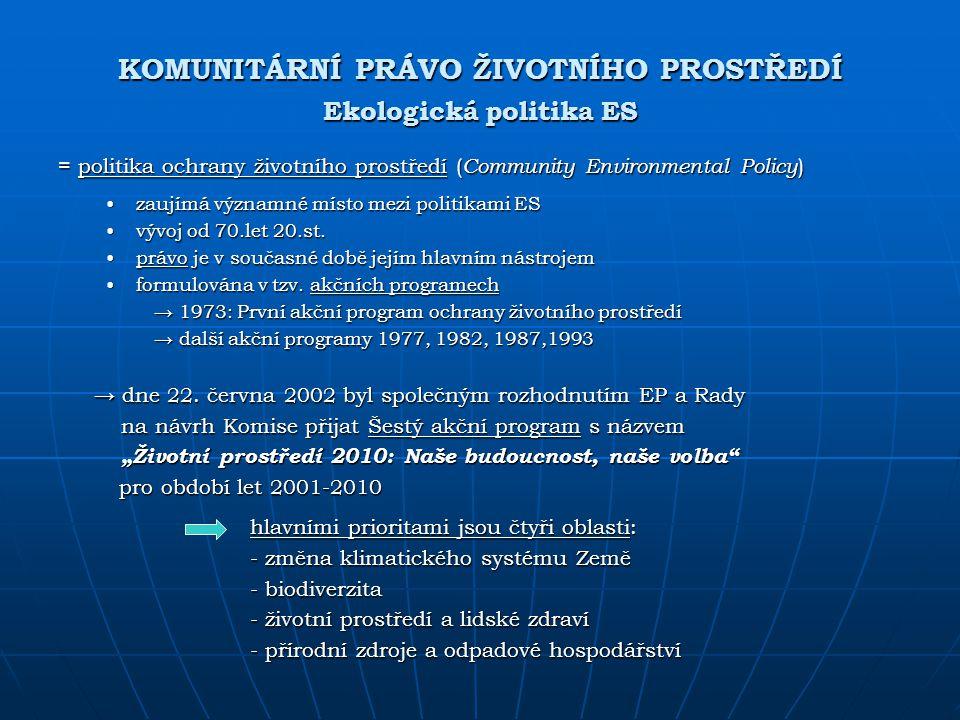 KOMUNITÁRNÍ PRÁVO ŽIVOTNÍHO PROSTŘEDÍ Ekologická politika ES