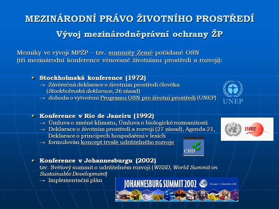MEZINÁRODNÍ PRÁVO ŽIVOTNÍHO PROSTŘEDÍ Vývoj mezinárodněprávní ochrany ŽP
