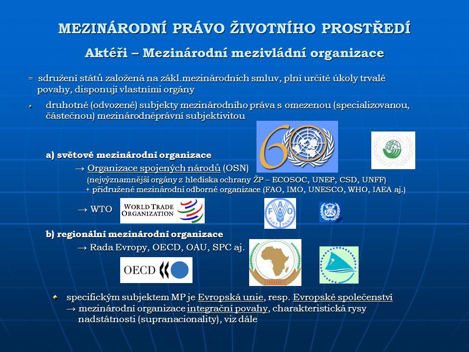 MEZINÁRODNÍ PRÁVO ŽIVOTNÍHO PROSTŘEDÍ Aktéři – Mezinárodní mezivládní organizace
