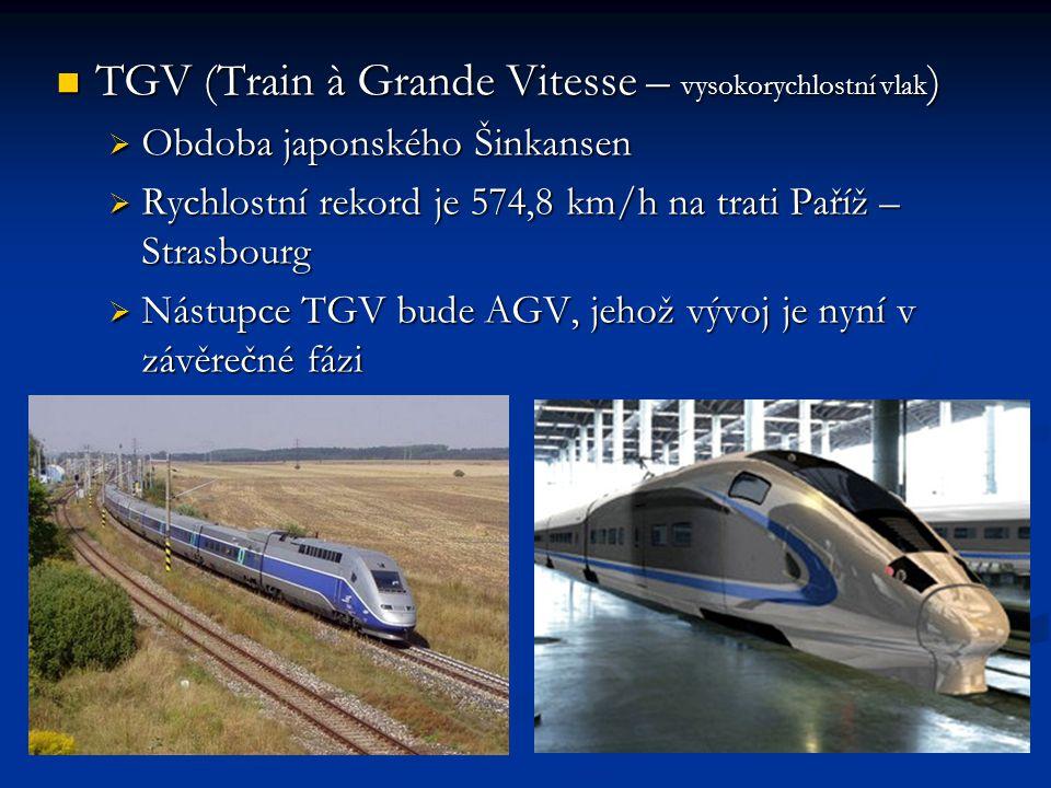 TGV (Train à Grande Vitesse – vysokorychlostní vlak)