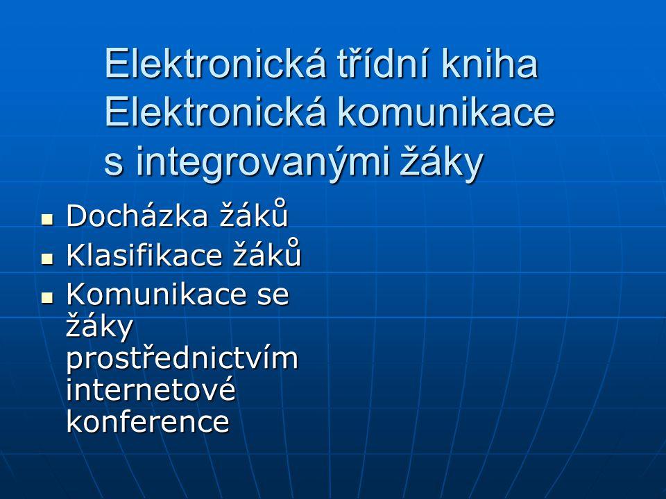 Elektronická třídní kniha Elektronická komunikace s integrovanými žáky