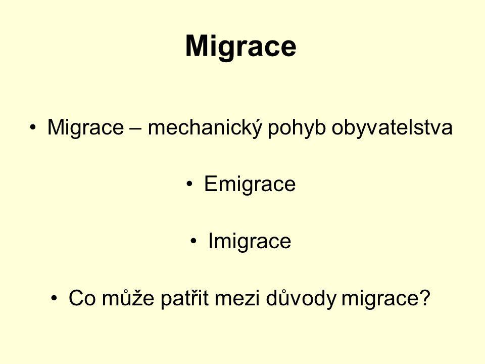 Migrace Migrace – mechanický pohyb obyvatelstva Emigrace Imigrace