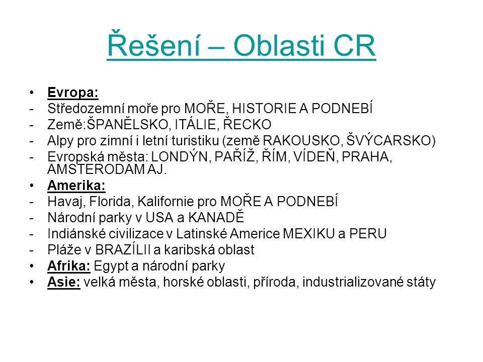 Řešení – Oblasti CR Evropa: