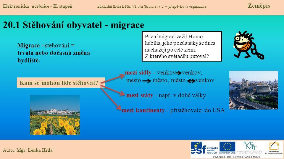 20.1 Stěhování obyvatel - migrace