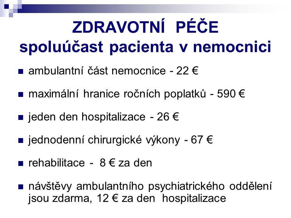 ZDRAVOTNÍ PÉČE spoluúčast pacienta v nemocnici