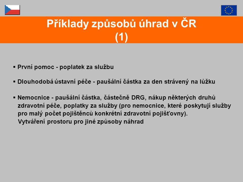 Příklady způsobů úhrad v ČR