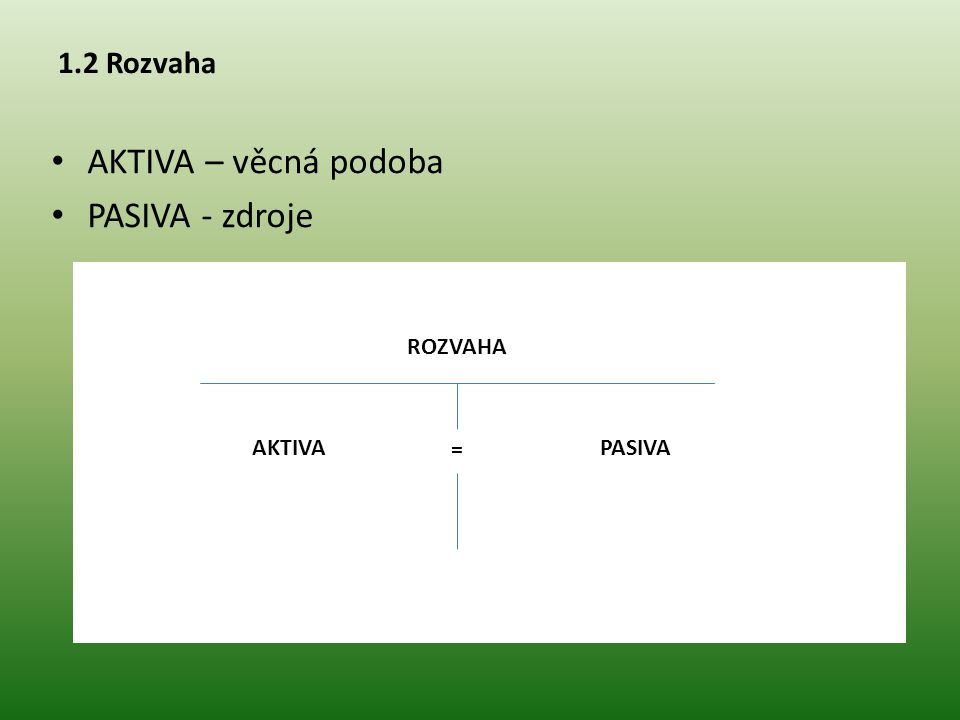 AKTIVA – věcná podoba PASIVA - zdroje 1.2 Rozvaha ROZVAHA AKTIVA =