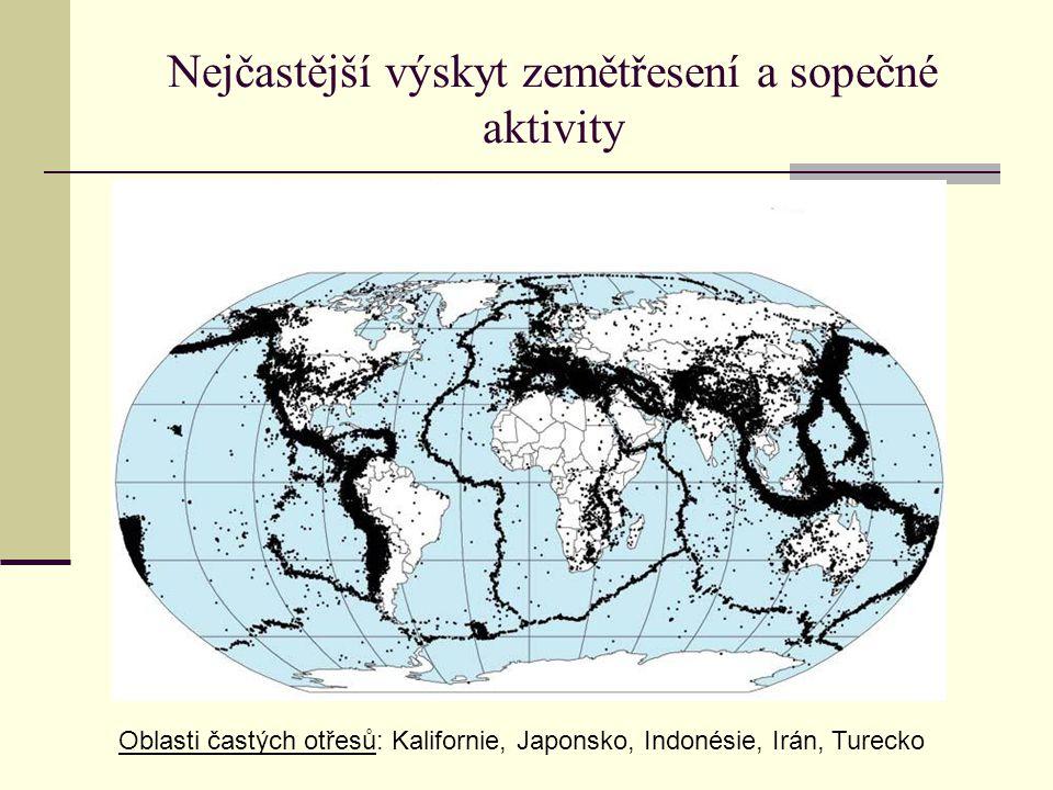 Nejčastější výskyt zemětřesení a sopečné aktivity