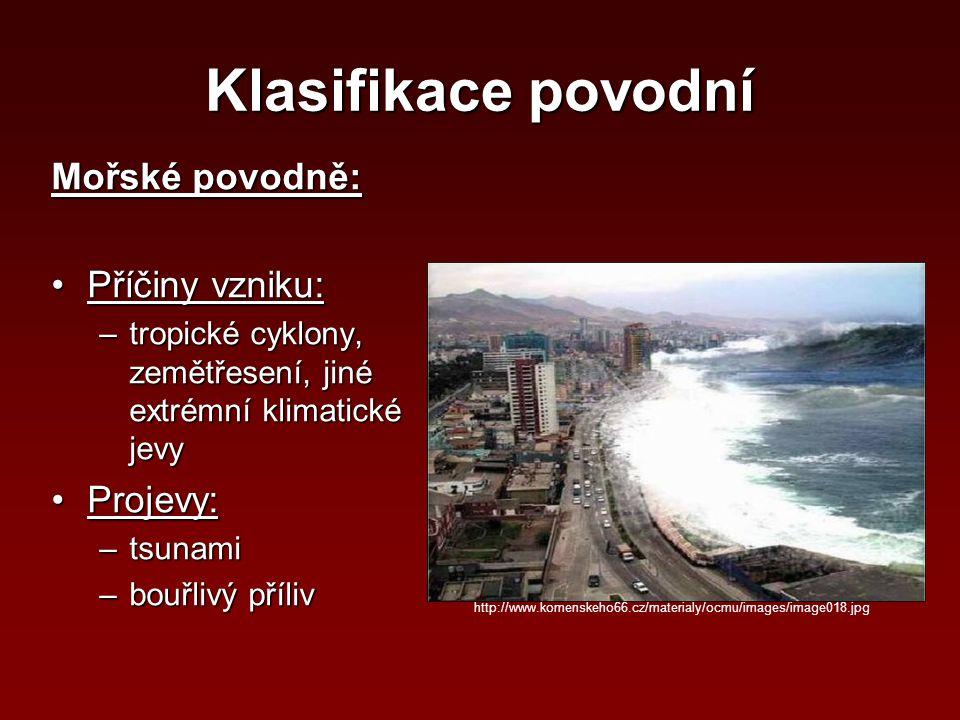 Klasifikace povodní Mořské povodně: Příčiny vzniku: Projevy: