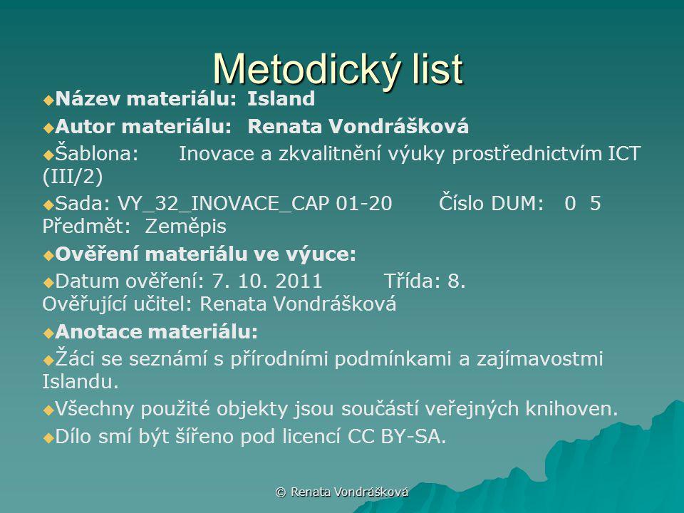 Metodický list Název materiálu: Island