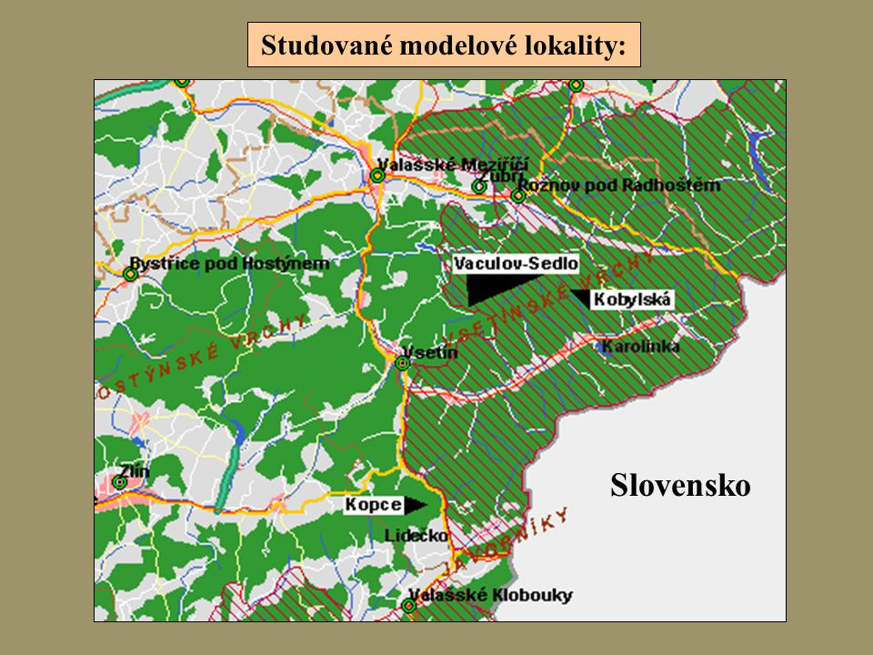 Studované modelové lokality: