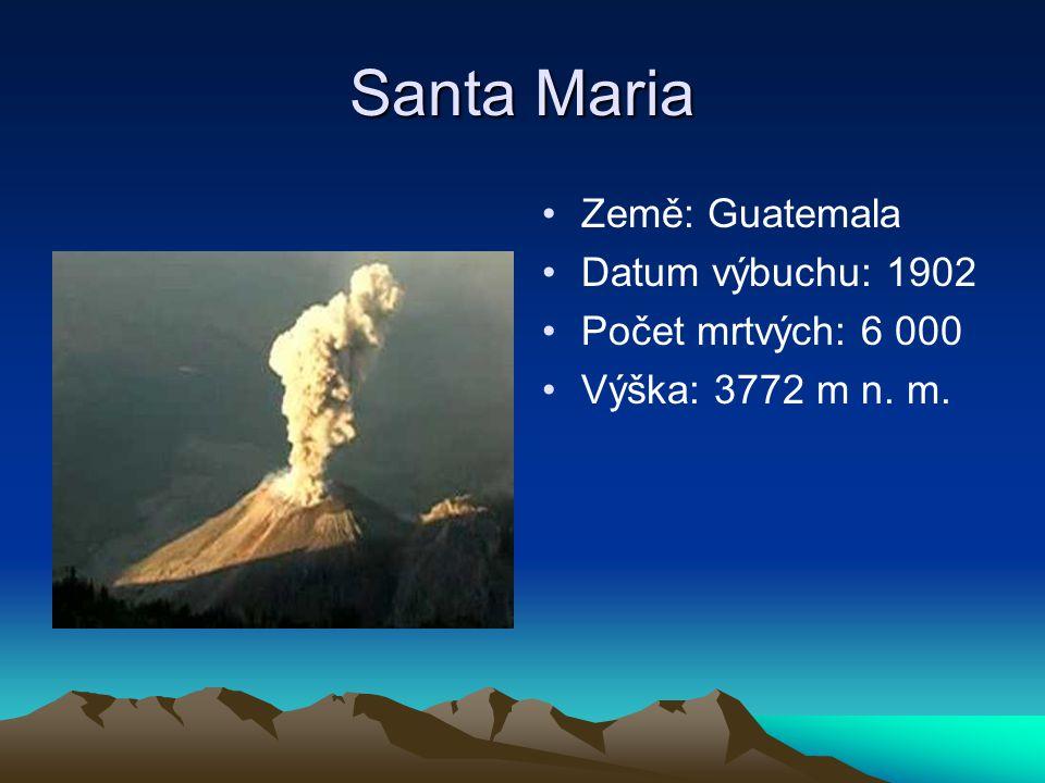 Santa Maria Země: Guatemala Datum výbuchu: 1902 Počet mrtvých: 6 000