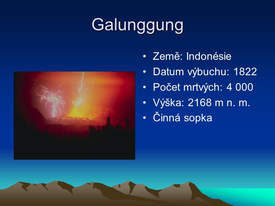 Galunggung Země: Indonésie Datum výbuchu: 1822 Počet mrtvých: 4 000
